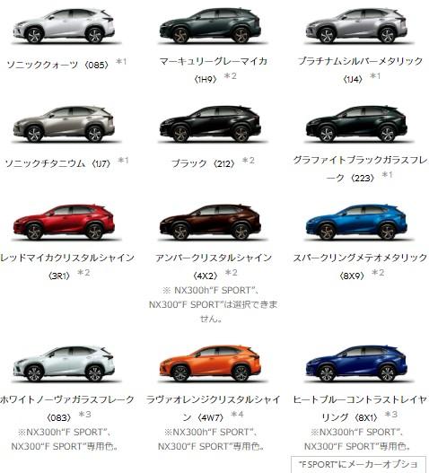 レクサスNXの人気カラーは?専用色と全色を色見本でチェック!