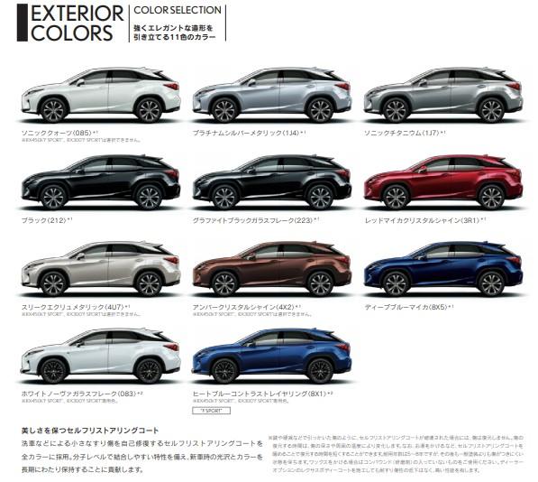 レクサスRXの人気カラーは?専用色と全色を色見本でチェック!
